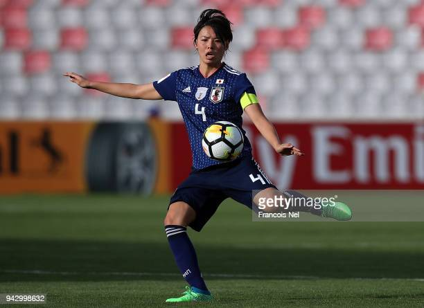 Saki Kumagai of Japan in action during the AFC Women's Asian Cup Group B match between Japan and Vietnam at the King Abdullah II Stadium on April 7...