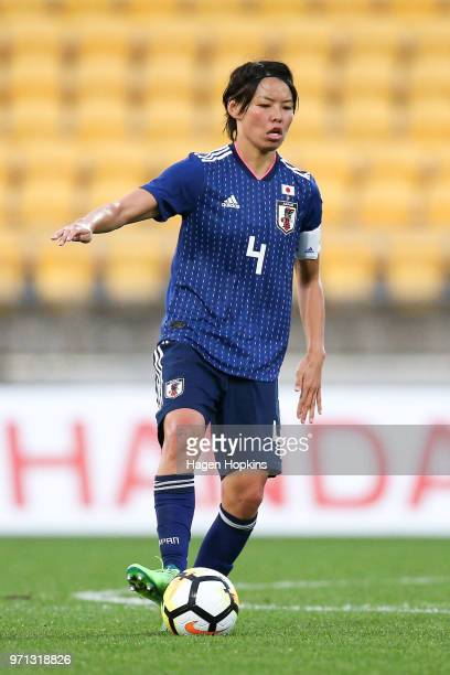 Saki Kumagai of Japan in action during the International Friendly match between the New Zealand Football Ferns and Japan at Westpac Stadium on June...