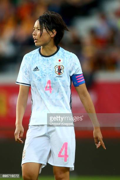 Saki Kumagai of Japan is seen during the Women's International Friendly match between Belgium and Japan at Stadium Den Dreef on June 13 2017 in...