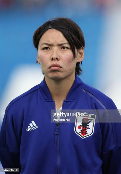Saki Kumagai of Japan looks on prior to the AFC Women's Asian Cup Group B match between South Korea and Japan at the Amman International Stadium on...