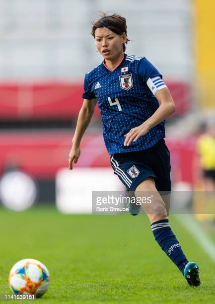 Saki Kumagai of Japan runs with the ball during the Women's International Friendly match between Germany and Japan at Benteler Arena on April 09 2019...