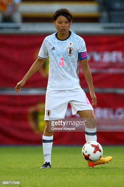 Saki Kumagai of Japan runs with the ball during the Women's International Friendly match between Belgium and Japan at Stadium Den Dreef on June 13...