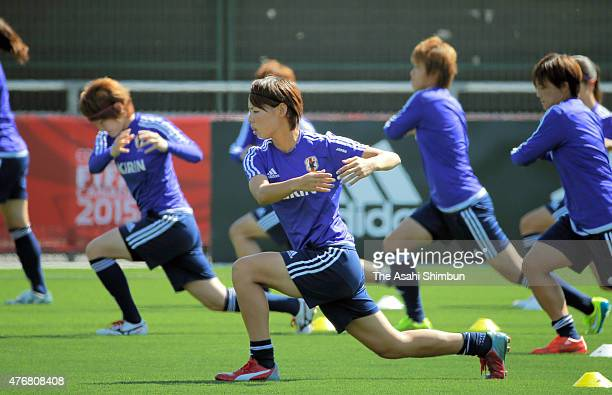 Saki Kumagai of Japan warms up during a Japan training session on June 10 2015 in Vancouver Canada