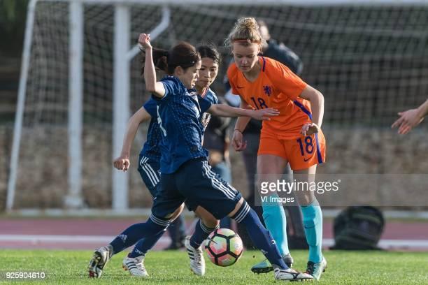 Saki Kumagai of Japan women Yui Hasegawa of Japan women Esme de Graaf of Netherlands women during the Algarve Cup 2018 match between Japan and the...