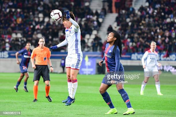 Saki Kumagai of Lyon and Marie Antoinette Katoto of PSG during the Women's Division 1 match between Paris Saint Germain and Olympique Lyonnais on...