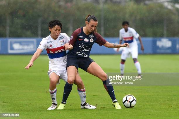 Saki Kumagai of Lyon and Virginia Torrecilla of Montpellier during the women's Division 1 match between Montpellier and Lyon on September 30 2017 in...