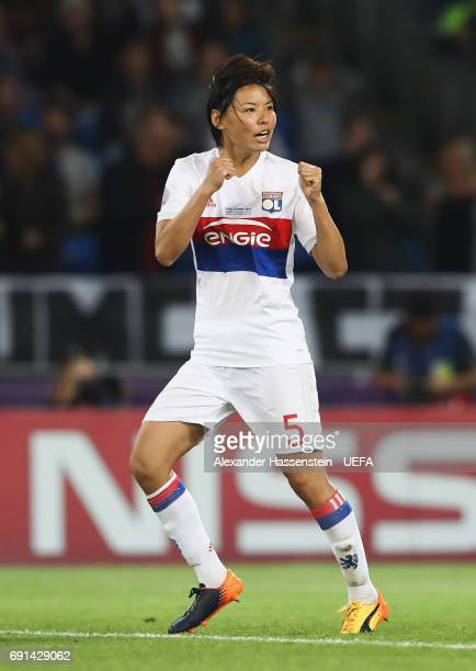Saki Kumagai of Lyon celebrates scoring in the penalty shootout during the UEFA Women's Champions League Final between Lyon and Paris Saint Germain...