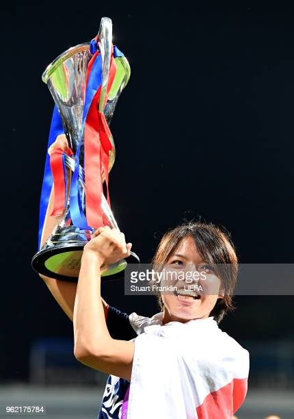 Saki Kumagai of Lyon celebrates with the trophy after the UEFA Womens Champions League Final between VfL Wolfsburg and Olympique Lyonnais on May 24...