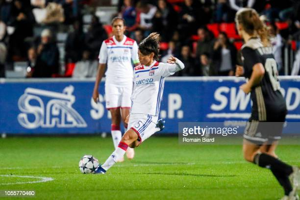 Saki Kumagai of Lyon during the UEFA Women's Champions League match between Lyon and Ajax Amsterdam on October 31 2018 in Lyon France