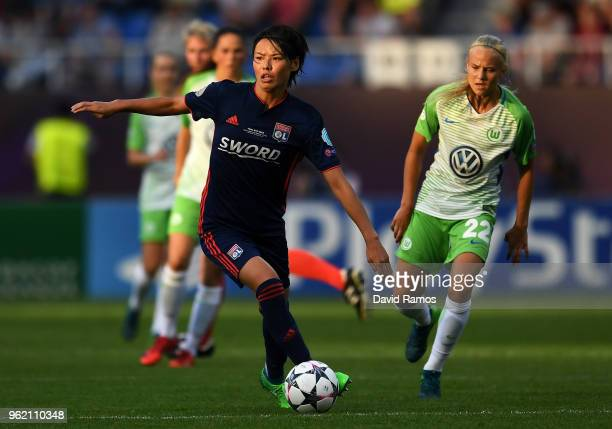 Saki Kumagai of Lyon in action during the UEFA Womens Champions League Final between VfL Wolfsburg and Olympique Lyonnais on May 24 2018 in Kiev...