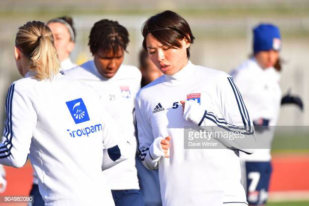 Saki Kumagai of Lyon warms up before the Division 1 match between Paris FC and Lyon on January 14 2018 in Evry Bondoufle France