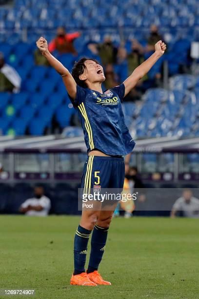 Saki Kumagai of Olympique Lyon celebrates after scoring her team's second goal during the UEFA Women's Champions League Final between VfL Wolfsburg...