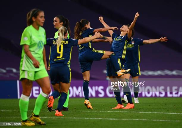 Saki Kumagai of Olympique Lyon celebrates with teammates after scoring her team's second goal during the UEFA Women's Champions League Final between...