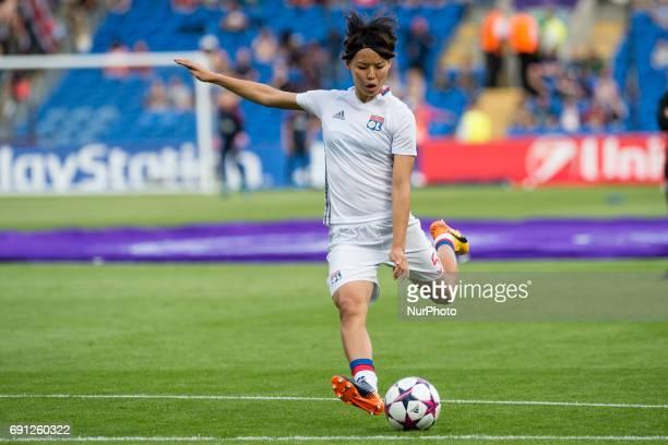 Saki Kumagai of Olympique Lyon during the UEFA Women's Champions League Final between Lyon Women and Paris Saint Germain Women at the Cardiff City...