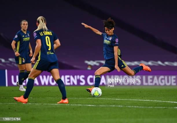 Saki Kumagai of Olympique Lyon scores her team's second goal during the UEFA Women's Champions League Final between VfL Wolfsburg Women's and...