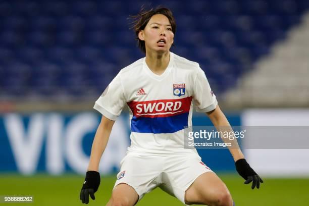 Saki Kumagai of Olympique Lyon Women during the match between Olympique Lyon Women v FC Barcelona Women at the Parc Olympique Lyonnais on March 22...