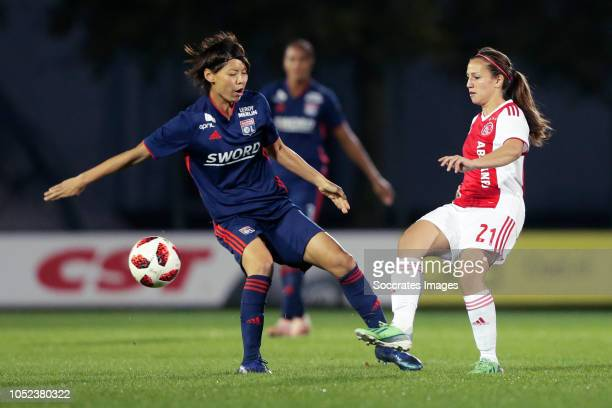 Saki Kumagai of Olympique Lyon Women Vanity Lewerissa of Ajax Women during the match between Ajax v Olympique Lyon at the De Toekomst on October 17...