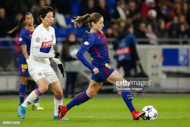 Saki Kumagai of Olympique Lyon Women Vicky Losada Gomez of FC Barcelona Women during the match between Olympique Lyon Women v FC Barcelona Women at...