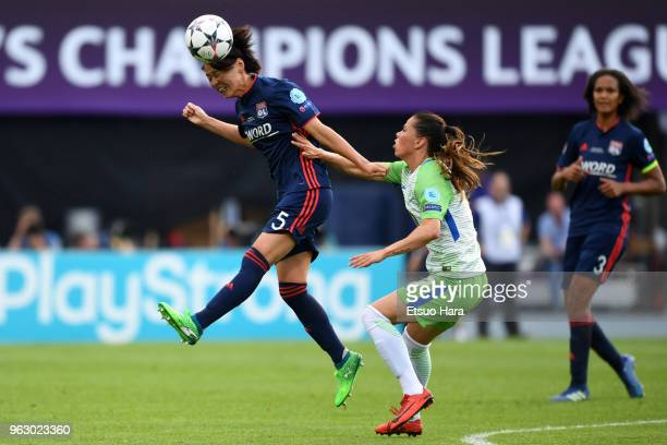 Saki Kumagai of Olympique Lyonnais and Sara Bjork Gunnarsdottir of Wolfsburg compete for the ball during the UEFA Womens Champions League Final...