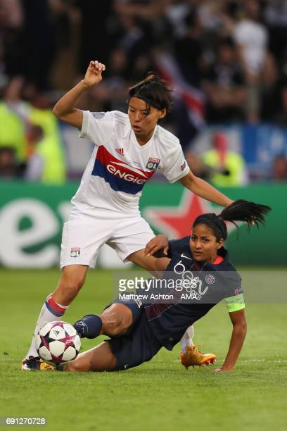 Saki Kumagai of Olympique Lyonnais and Shirley Cruz of PSG during the UEFA Women's Champions League Final between Lyon and Paris Saint Germain on...