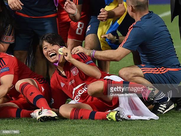 Saki Kumagai of Olympique Lyonnais celebrates a victory after UEFA Women's Champions League Final between VfL Wolfsburg v Olympique Lyonnais at Mapei...