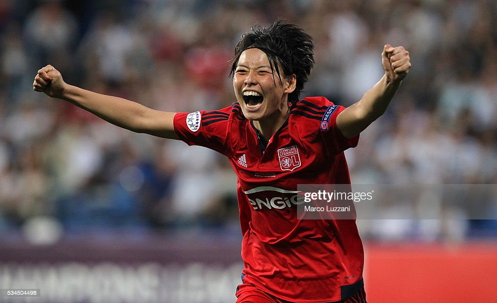 Saki Kumagai of Olympique Lyonnais celebrates after scoring the decisive penalty during the UEFA Women's Champions League Final VfL Wolfsburg and Olympique Lyonnais between at Mapei Stadium - Citta' del Tricolore on May 26, 2016 in Reggio nell'Emilia, Italy.