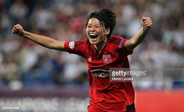 Saki Kumagai of Olympique Lyonnais celebrates after scoring the decisive penalty during the UEFA Women's Champions League Final VfL Wolfsburg and...