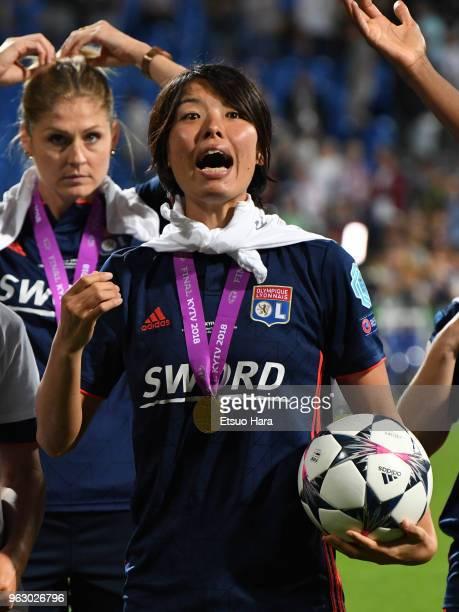 Saki Kumagai of Olympique Lyonnais celebrates after the UEFA Womens Champions League Final between VfL Wolfsburg and Olympique Lyonnais on May 24...