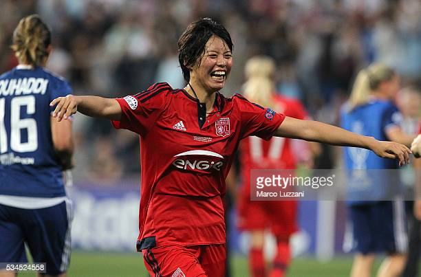 Saki Kumagai of Olympique Lyonnais celebrates atthe end of the UEFA Women's Champions League Final VfL Wolfsburg and Olympique Lyonnais between at...