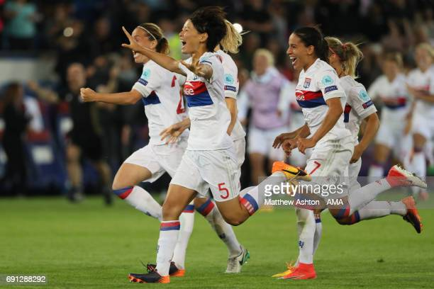 Saki Kumagai of Olympique Lyonnais celebrates victory after the penalty shoot out in the UEFA Women's Champions League Final between Lyon and Paris...