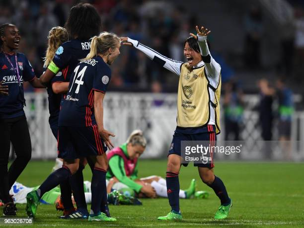 Saki Kumagai of Olympique Lyonnais celebrates with her team mates after the UEFA Womens Champions League Final between VfL Wolfsburg and Olympique...