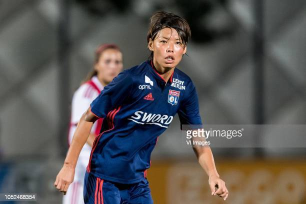 Saki Kumagai of Olympique Lyonnais during the UEFA Women's Champions League round of 16 first leg match between Ajax Amsterdam and Olympique Lyonnais...