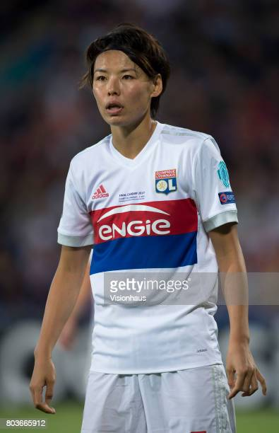 Saki Kumagai of Olympique Lyonnais during the UEFA Women's Champions League Final between Olympique Lyonnais and Paris St Germain at the Cardiff City...
