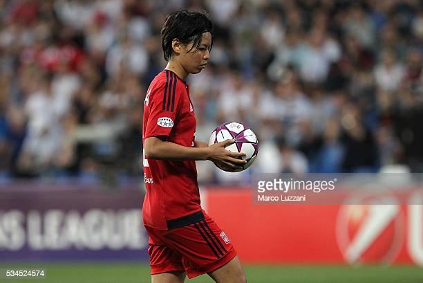 Saki Kumagai of Olympique Lyonnais from the penalty spo during the UEFA Women's Champions League Final VfL Wolfsburg and Olympique Lyonnais between...