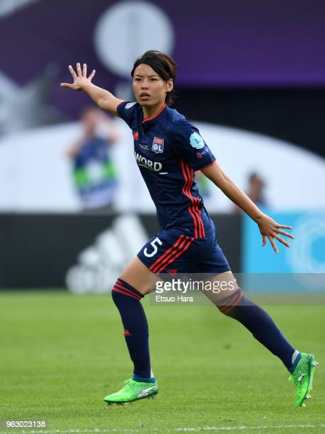 Saki Kumagai of Olympique Lyonnais in action during the during the UEFA Womens Champions League Final between VfL Wolfsburg and Olympique Lyonnais on...