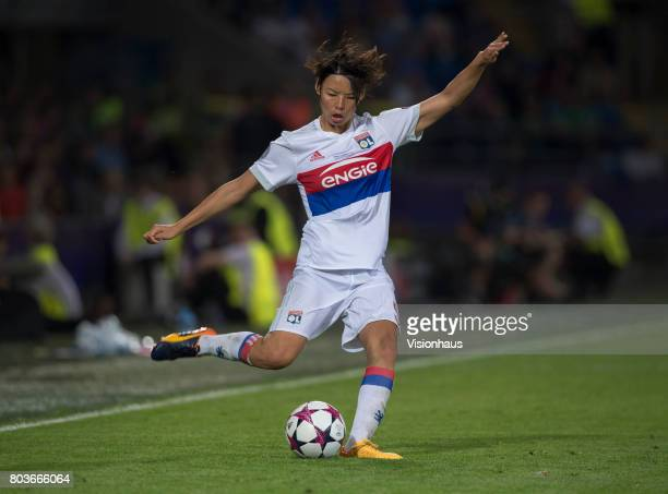 Saki Kumagai of Olympique Lyonnais in action during the UEFA Women's Champions League Final between Olympique Lyonnais and Paris St Germain at the...