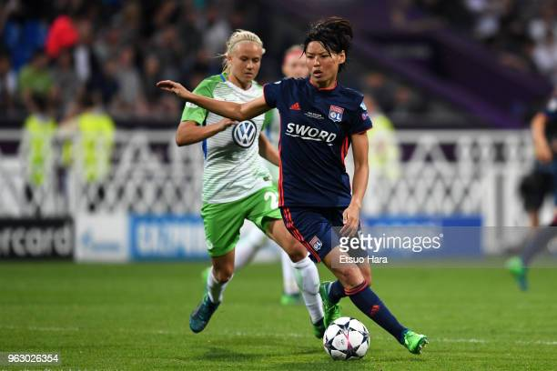 Saki Kumagai of Olympique Lyonnais in action during the UEFA Womens Champions League Final between VfL Wolfsburg and Olympique Lyonnais on May 24...