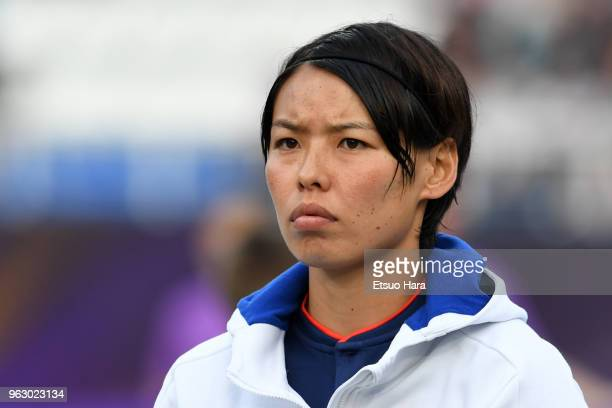 Saki Kumagai of Olympique Lyonnais is seen prior to the during the UEFA Womens Champions League Final between VfL Wolfsburg and Olympique Lyonnais on...