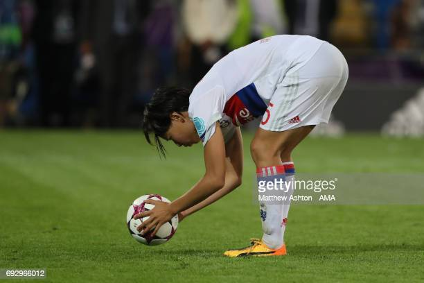 Saki Kumagai of Olympique Lyonnais places the ball down before taking her penalty in the shoot out during the UEFA Women's Champions League Final...