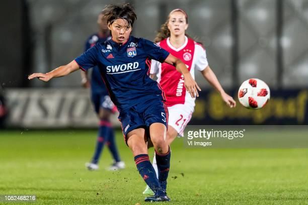 Saki Kumagai of Olympique Lyonnais Vanity Lewerissa of Ajax women during the UEFA Women's Champions League round of 16 first leg match between Ajax...