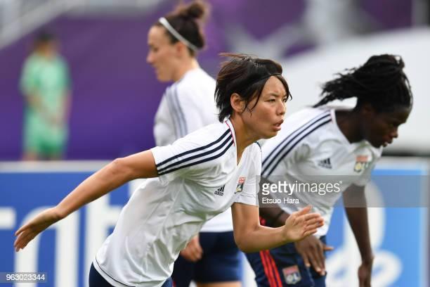 Saki Kumagai of Olympique Lyonnais warms up prior to the during the UEFA Womens Champions League Final between VfL Wolfsburg and Olympique Lyonnais...