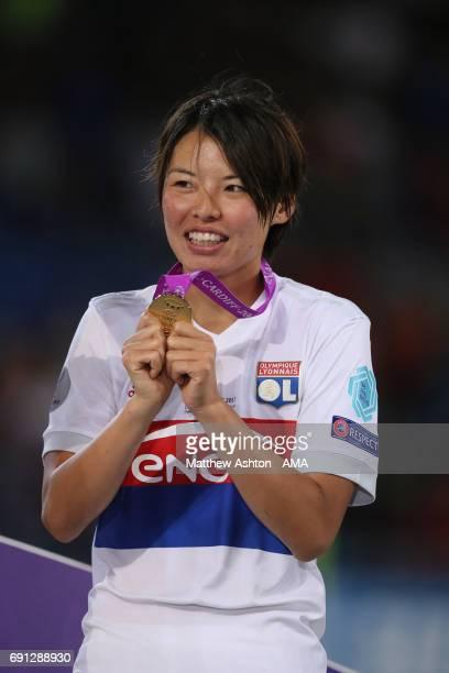 Saki Kumagai of Olympique Lyonnais with her winners medal after the UEFA Women's Champions League Final between Lyon and Paris Saint Germain on June...