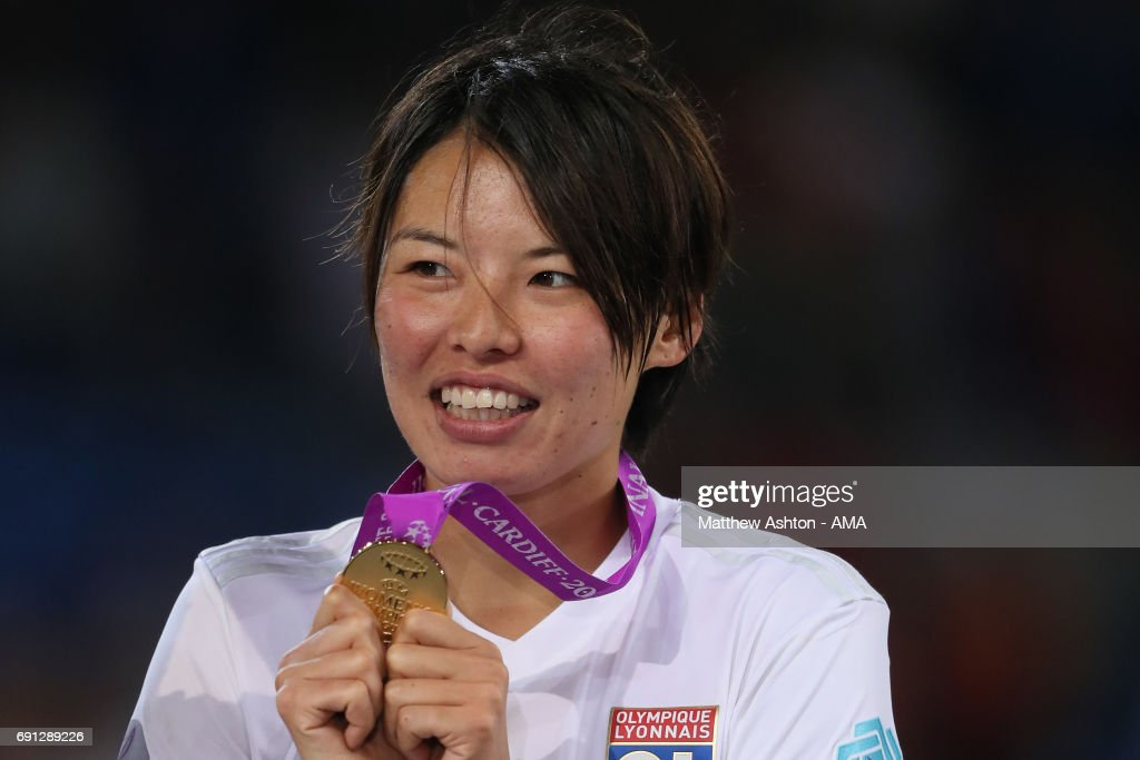 Saki Kumagai of Olympique Lyonnais with her winners medal after the UEFA Women's Champions League Final between Lyon and Paris Saint Germain on June 1, 2017 in Cardiff, Wales.