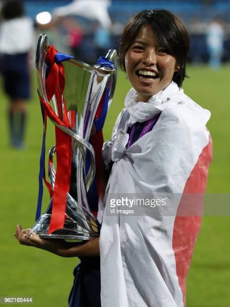 Saki Kumagai of Olympique Lyonnais with UEFA Womens Champions League trophy during the UEFA Women's Champions League final match between VfL...