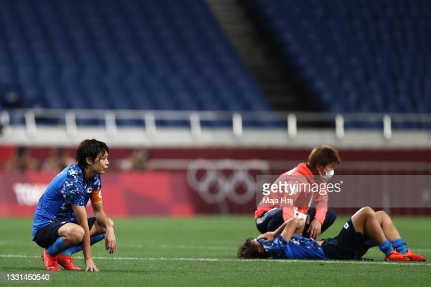 Saki Kumagai of Team Japan looks dejected following defeat in the Women's Quarter Final match between Sweden and Japan on day seven of the Tokyo 2020...