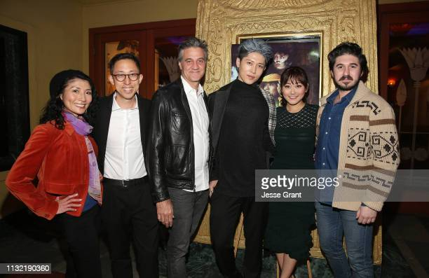 "Saki Miata, Joe Sill, Ross Partridge, Miyavi, Karen Fukuhara and Eric B. Fleischman attend the ""Stray"" World Premiere on February 25, 2019 in Los..."