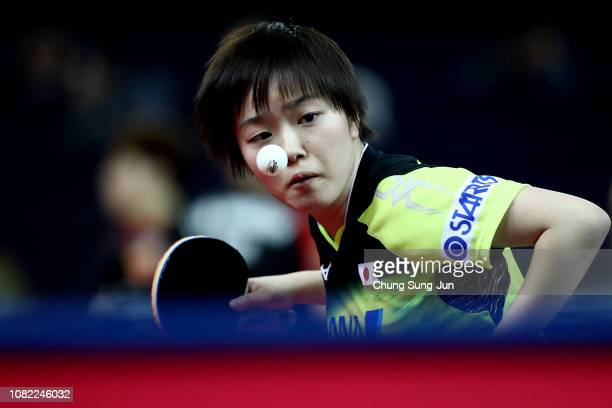 Saki Shibata of Japan competes in the Women's Singles Round of 16 againt Ning Ding of China during day two of the World Tour Grand Finals at Namdong...