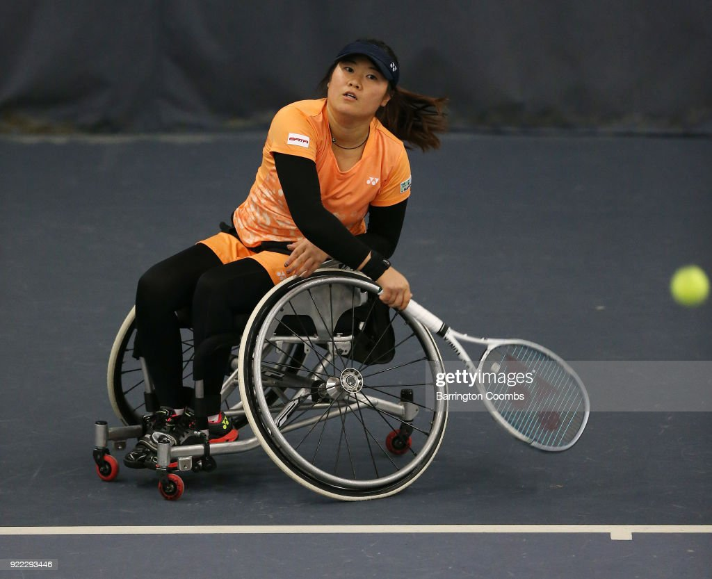 Saki Takamuro of Japan during the 2018 Bolton Indoor Wheelchair Tennis Tournament at Bolton Arena on February 21, 2018 in Bolton, England.
