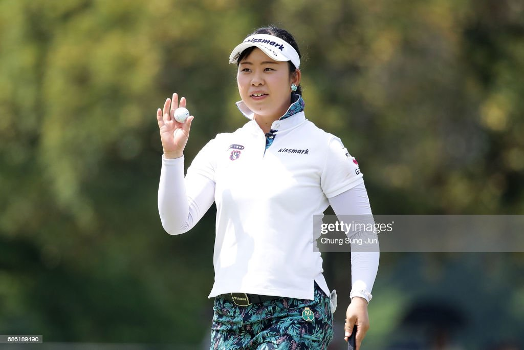 Saki Takeo of Japan reacts after a putt on the 18th green during the final round of the Chukyo Television Bridgestone Ladies Open at the Chukyo Golf Club Ishino Course on May 21, 2017 in Toyota, Japan.