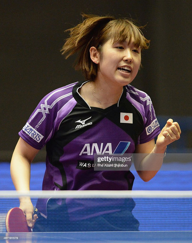 Saki Tashiro of Japan celebrates a point during the game against Maryia Kuchuk of Belarus during day one of the 2014 World Team Table Tennis Championships at Yoyogi National Gymnasium on April 28, 2014 in Tokyo, Japan.